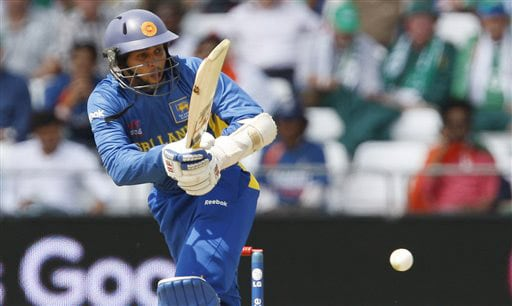 Sri Lanka's Tillakaratne Dilshan plays a shot off the bowling of West Indies' Kieron Pollard during their World Twenty20 match at Trent Bridge cricket ground in Nottingham on Wednesday. (AP Photo)
