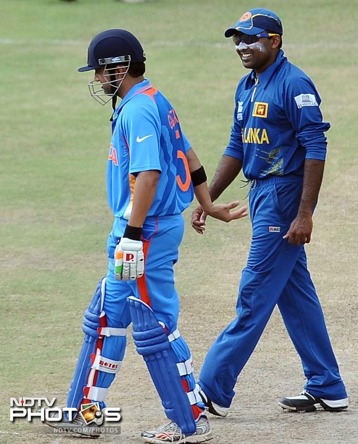 India suffered an early setback when Gautam Gambhir was hit on the hand by a Lasith Malinga delivery causing him to retire hurt.