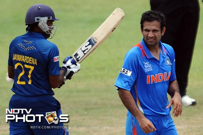 Irfan Pathan, however, was putting the ball in the right areas and took the crucial wicket of Mahela Jayawardena. What followed was a dramatic batting collapse for the Lankans as they lost 5 wickets for just 2 runs in 7 balls.