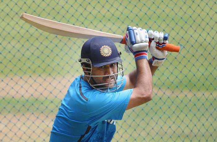 Skipper MS Dhoni going for big shots in the nets. Thats the way he would be expected to thwart Australian bowling.