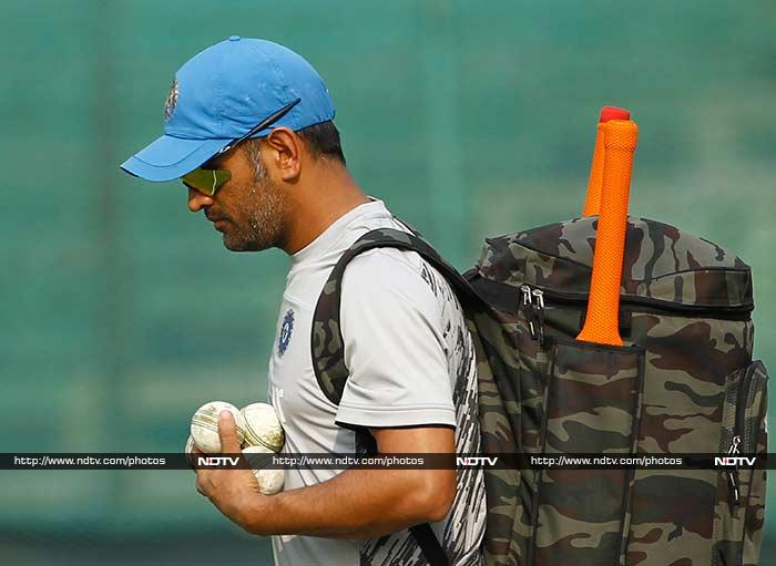 Skipper MS Dhoni had an extensive batting session in the nets.