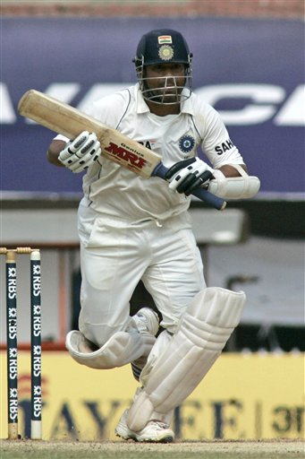 Sachin Tendulkar takes runs during the fifth day of the first Test match between India and England in Chennai on Monday, December 15, 2008. (AP Photo)