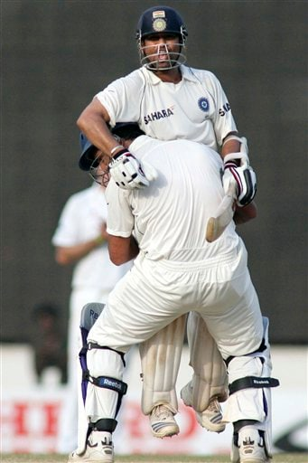 Sachin Tendulkar and Yuvraj Singh celebrate India's victory during the fifth day of the first Test cricket match between India and England in Chennai on Monday, December 15, 2008. (AP Photo)