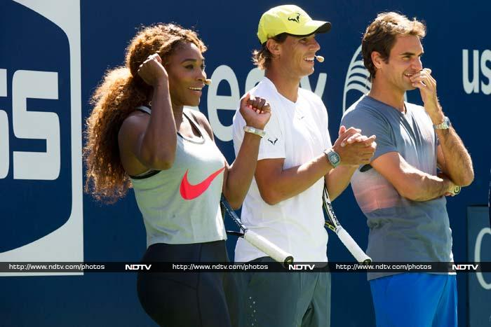 Serena Williams, Rafael Nadal and Roger Federer were some of the highlights here as they cheered kids and shared tips to play better. <BR><BR>Image courtesy AFP and AP