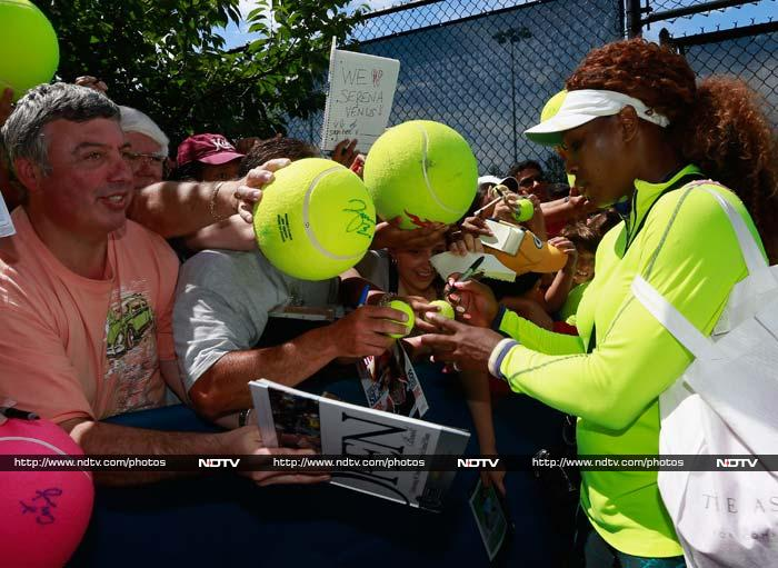 Fans line up to get a closer glimpse of the American player and get her autograph. <BR><BR>Image courtesy AFP and AP