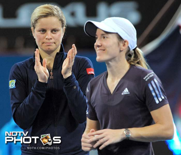 <b>Justine Henin and Kim Clijsters:</b> The fact that both were Belgians made their rivalry more intense and it spanned twenty-five meetings over a twelve-year period. Their final competitive meeting at the 2010 Wimbledon in the fourth round, which Clijsters won in 3 sets, settled this rivalry 13–12 in Clijster's favour. Henin, however had an edge in Grand Slams, which she leads 5–3 including winning all their three final match ups.