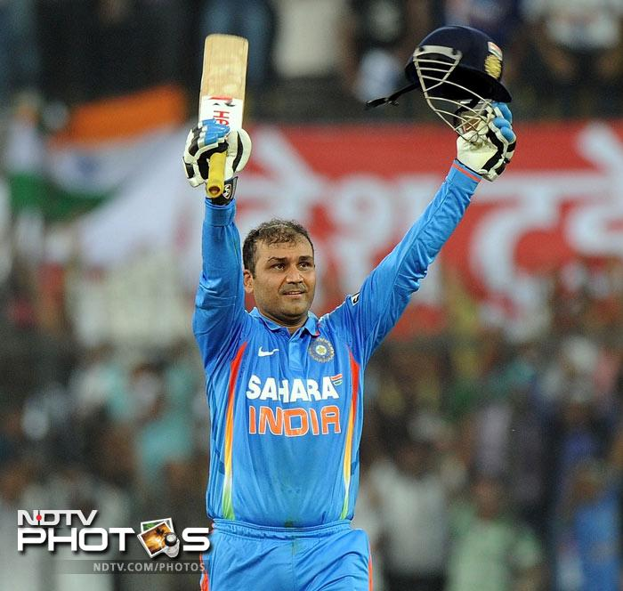 <b>Virender Sehwag:</b> 219 off 149 deliveries against West Indies on 8 Dec 2011 at Indore. Fours: 24, Sixes: 7, Strike Rate: 146.25