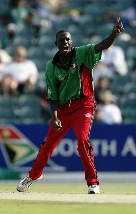 <b>Collins Obuya 5/24 Kenya vs Sri Lanka 2003 World Cup</b><br><br> Kenya needed to win this match in order to progress to the Super Six stage with enough number of points to try and make the grade for the semis. With a total of 210 on board, they had their task cut out against a Lanka batting line-up that boasted names like Aravinda de Silva, Jayasuriya and Jayawardene.<br><br> Collins Obuya weaved a spinning web as he dismissed the entire top and middle order to lead the minnows to an emphatic 53-run win.
