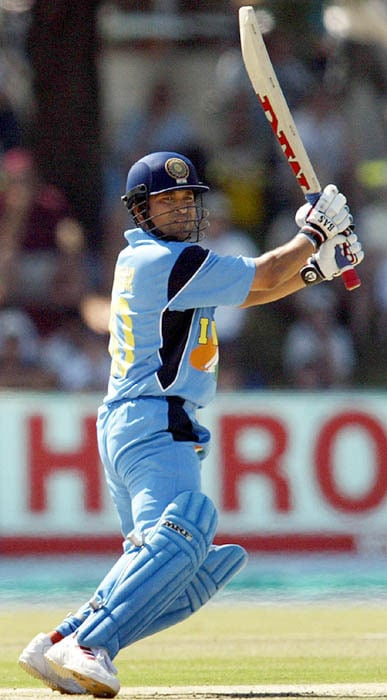 <b>7. Sachin Tendulkar (India) 98 vs Pakistan 2003 World Cup</b><br><br> He has scored 4 World Cup centuries, but 'this' was something special. Batting against an attack that boasted names like Wasim Akram, Waqar Younis and Shoaib Akhtar, Sachin, it seemed, was on a different plane. At a pedestal higher than the lesser mortals.<br><br> Cutting, pulling, flicking and driving with the ease of a poet at his imaginative best, Sachin it seemed was making an offering to the Gods of batting. Cramps threw spanner on his good work, but by the time he departed 2 runs short of his century, Pakistan were already knocked out of the contest.