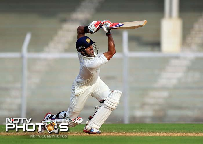 Manoj Tiwary emerged a strong contender for the No. 6 slot in the India team as he steadied India A with a fine 93 after the fall of Yuvraj and Mukund.