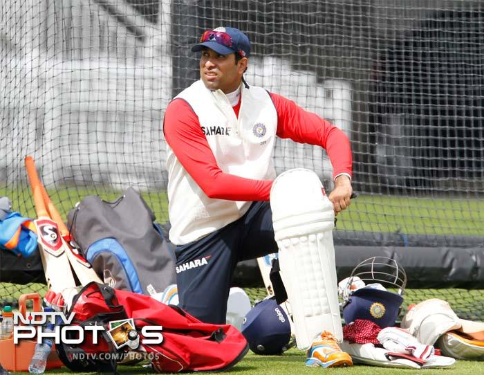 VVS Laxman pads up before facing some practice bowling during the net session here.