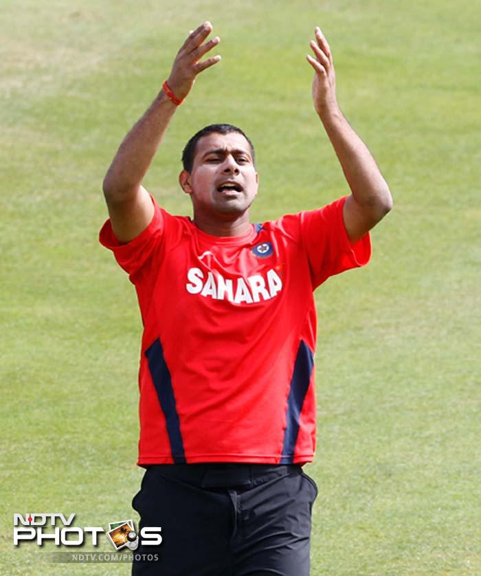 The pacers too looked ready to fire as Praveen Kumar gestures to his team-mates during the session.