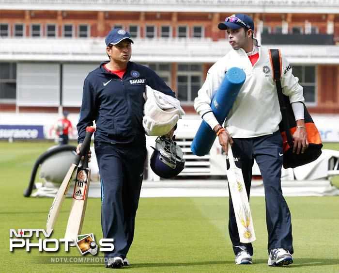 Harbhajan can bat but it looks like more Indian bowlers are trying to pick a thing or two about handling the willow. Sreesanth is seen here chatting with Tendulkar as the two walk towards the nets.