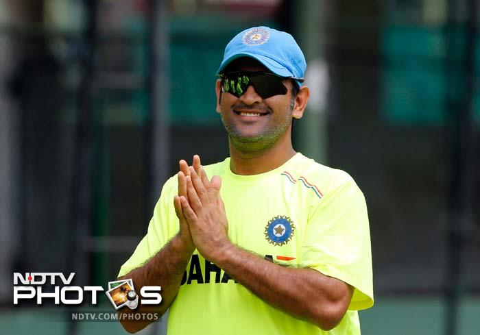 Skipper MS Dhoni seems to like the jovial spirit in the camp and has his hands, we think, together to applaud the effort.
