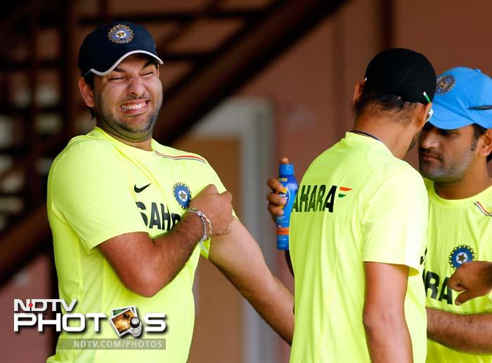 Then there is Yuvraj Singh.<br><br> The south-paw does not seem to like the deodorant used by his skipper. Or is it a pain balm? Whatever it is, Yuvraj's nose does not like it one bit!