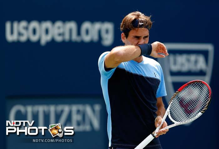 He leads the ATP World Tour with six titles in 2012 and is seen here practicing his game.