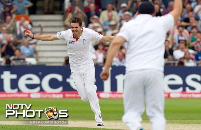 In reply to England's 221, India started off disastrously as James Anderson got a wicket off the first ball.