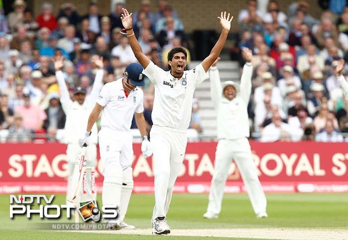 Ishant Sharma started the wicket fall for England when he got opener Alastair Cook out for only 2. (AFP and AP Images)