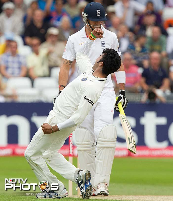Kevin Pietersen's resistance was however broken straight after lunch as Sreesanth gave India an early break in the 2nd session.