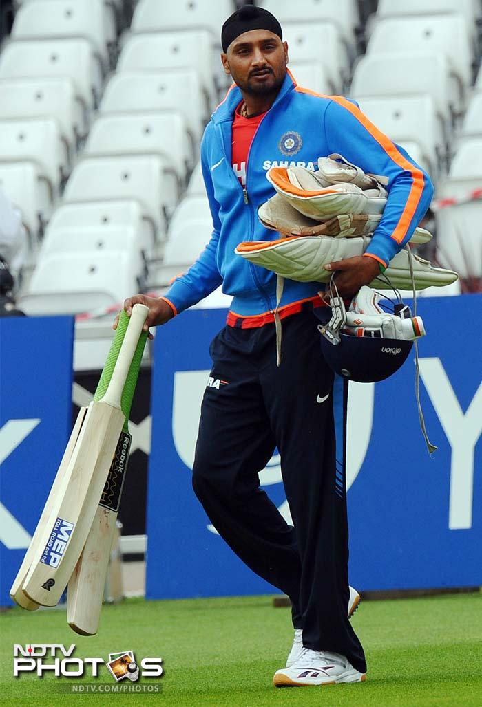 India's Harbhajan Singh arrives for the practice session at Trent Bridge. The spinner is under pressure after a below par performance at Lord's, with calls coming for Amit Mishra to replace the Turbanator in the side.