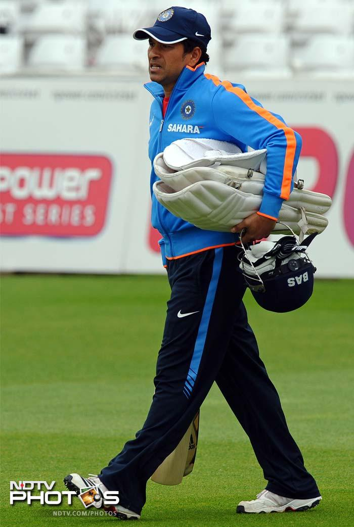 India's Sachin Tendulkar arrives for the practice session at Trent Bridge. There were fitness concerns over the little master but Sachin showed no signs of trouble in the net session.