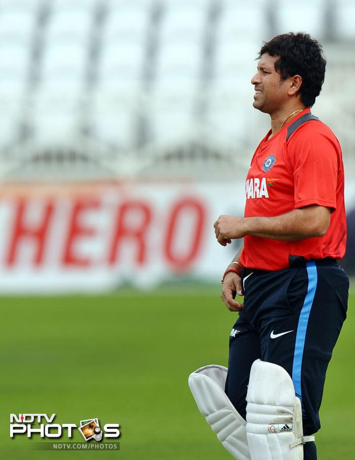 The country will once again hope to see Sachin score his 100th ton at Trent Bridge and the Master Blaster practised hard in the nets to ensure he was in best shape for the match.(AFP Photo)