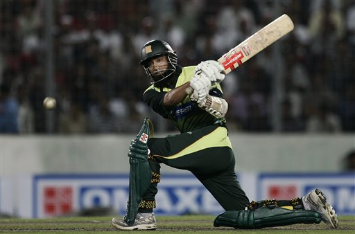 Mohammad Yousuf plays a shot against Bangladesh during their first one-day international cricket match in Dhaka on Sunday, June 8, 2008. Pakistan had set a target of 233 runs in forty overs for Bangladesh, after the match started with a delay due to rain in Dhaka.