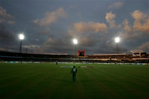 Clouds loom large above the pitch as Bangladesh and Pakistan play their first one-day international cricket match in Dhaka on Sunday, June 8, 2008.