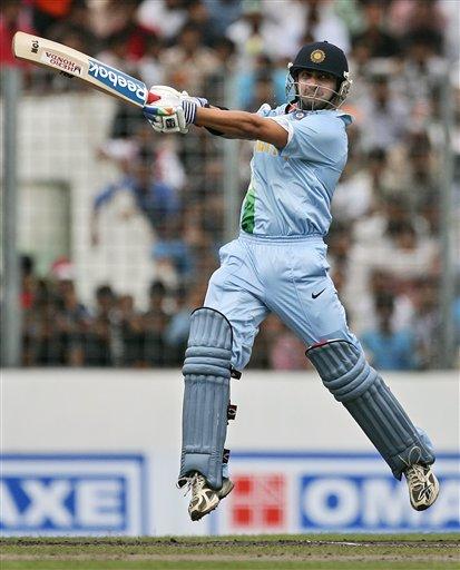 India's Gautam Gambhir plays a shot against Pakistan during their ODI match in Dhaka, Bangladesh on June 10, 2008. (AP Photo)