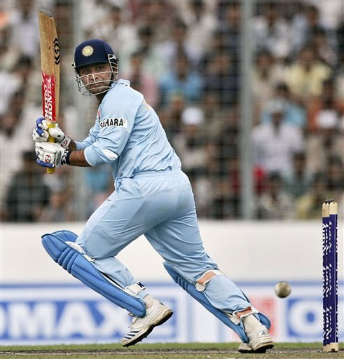 India's Virender Sehwag plays a shot against Pakistan during their ODI match in Dhaka, Bangladesh on June 10, 2008. (AP Photo)