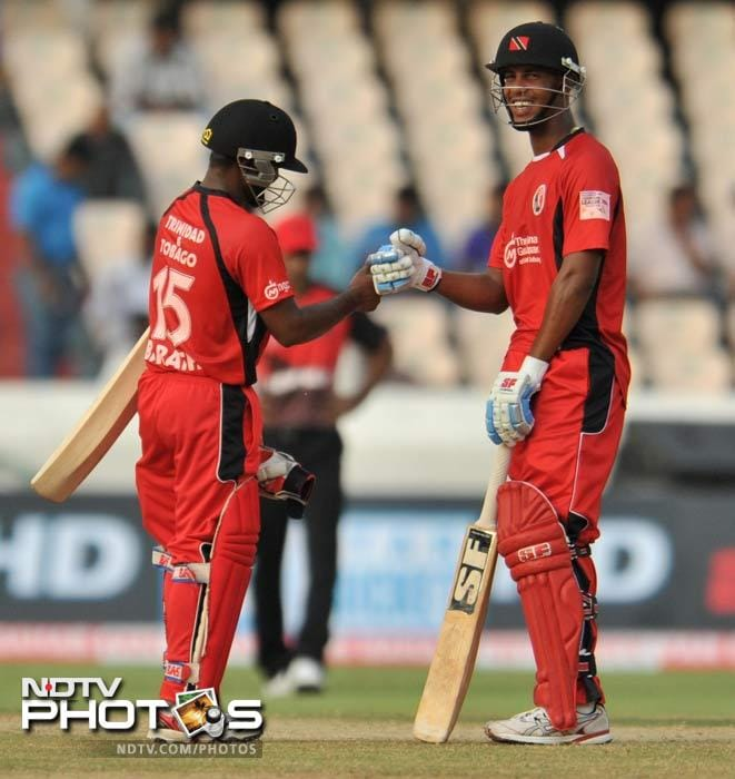 Simmons and Barath put together Trinidad's highest partnership (139) in Twenty20 cricket before falling in succession. (AFP Photo)
