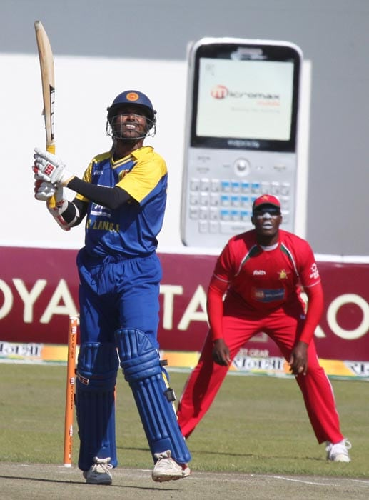 Sri Lankan opener Upul Tharanga plays a shot during his innings of 72 in the final of the tri-series against Zimbabwe at the Harare Sports Club. (AP Photo)