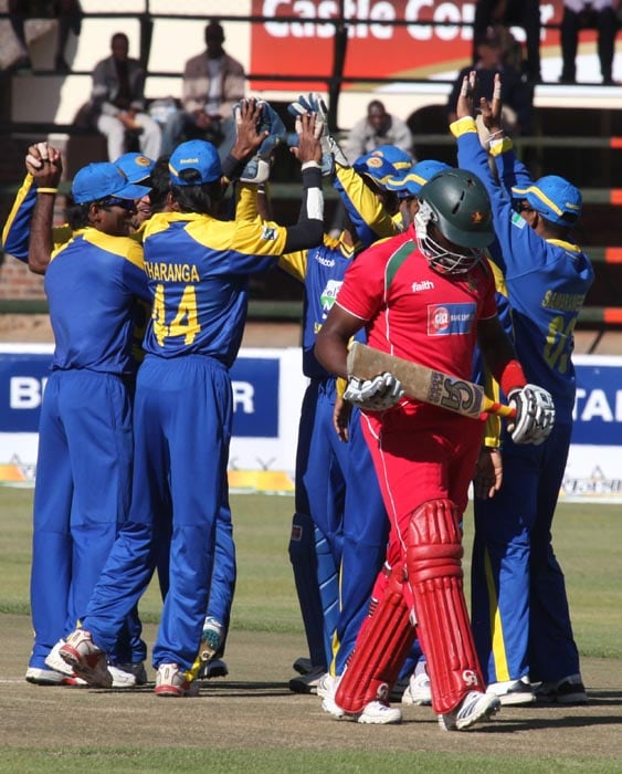 Sri Lankan players celebrate the fall of a wicket in the final of the tri-series against Zimbabwe at the Harare Sports Club. (AP Photo)
