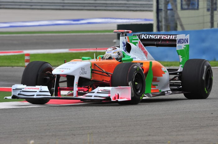 Force India's German driver Adrian Sutil rounded up the top 10 in the 2nd practice. He took over from Niko Hulkenberg who drove for Force India in the opening session of the Turkish Formula One Grand Prix. (AFP PHOTO)