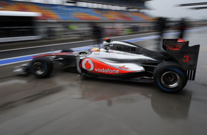 Button's McLaren team-mate Lewis Hamilton was the 3rd quickest in the 2nd practice session, making up for the disappointment of hardly getting to drive in the opening session. (AFP Photo)