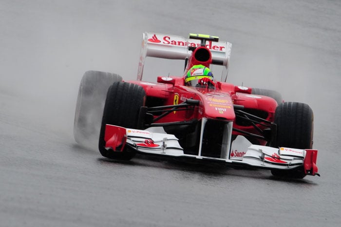 Ferrari's Brazilian driver Felipe Massa followed Webber at 6th after finishing 7th in the opening practice session of the Turkish Formula One Grand Prix. (AFP PHOTO)