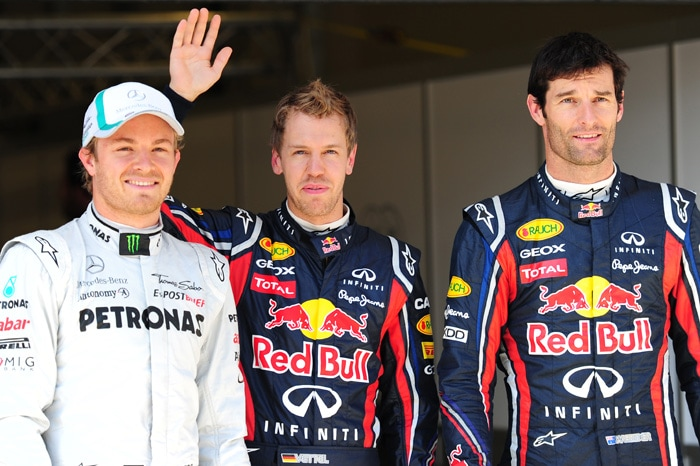 Mercedes' German driver Nico Rosberg, Red Bull Racing's German driver Sebastian Vettel and Red Bull Racing's Australian driver Mark Webber pose at Istanbul Park in Istanbul after the qualifying session of the Turkish Formula One Grand Prix. (AFP Photo)