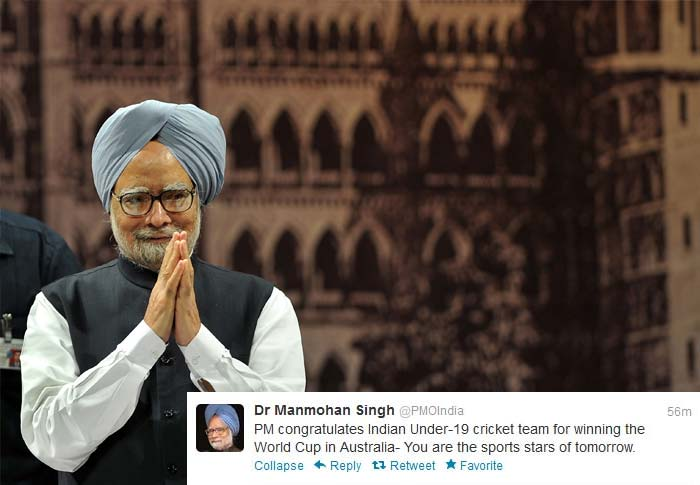 Prime Minister Manmohan Singh's official page on Twitter had this message for the World Cup winning team.