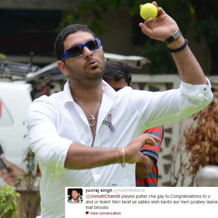 Yuvraj Singh is another player who has played in the U19 team for India. While congratulating the team, he did not forget to take a jovial dig at skipper Unmukt Chand.