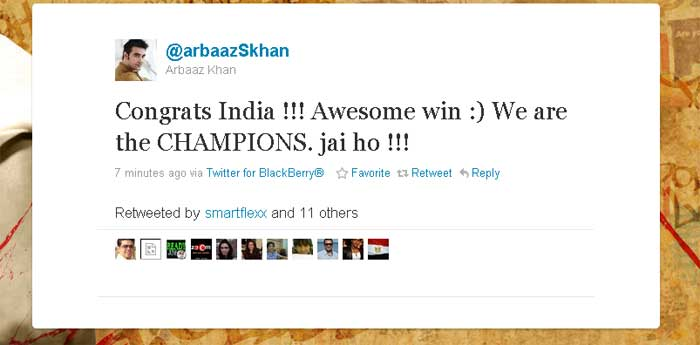 Arbaaz Khan cheers for the champions.