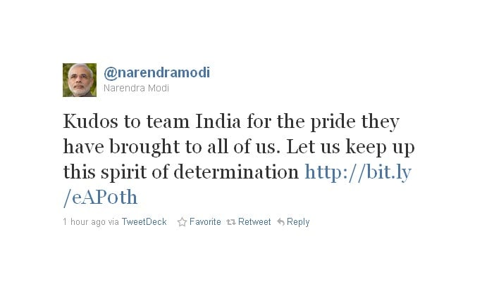 Narendra Modi is a big cricket fan too and congratulates the team on the fantastic win.