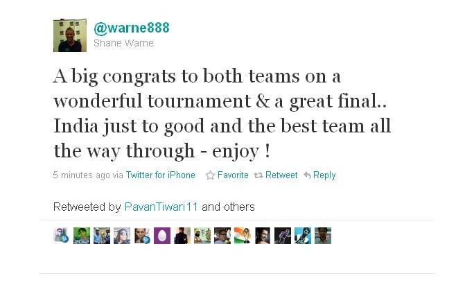 Shane Warne extends his congratulations.