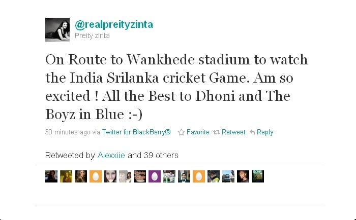 Preity is on her way to watch the action live.