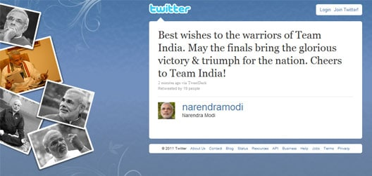 """Gujarat Chief Minister Narendra Modi tweeted: """"Best wishes to the warriors of Team India. May the finals bring the glorious victory & triumph for the nation. Cheers to Team India!"""""""