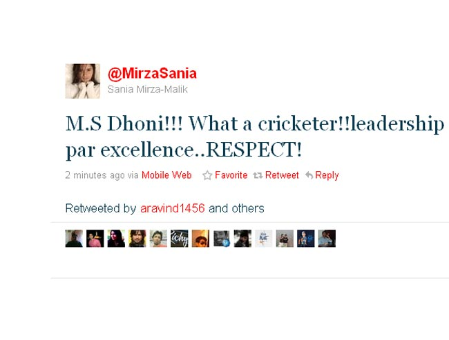 Sania Mirza expresses her respect for Dhoni.