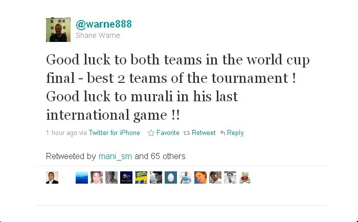 Shane also wishes Muralitharan luck in his last international game.
