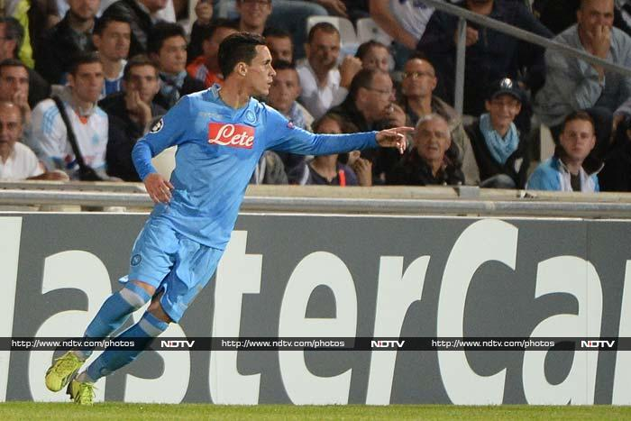 Napoli beat Marseille 2-1 in the Champions League on Tuesday, goals in either half from Jose Callejon (in pic) and Duvan Zapata doing the damage with Andre Ayew getting a late consolation for the French hosts.