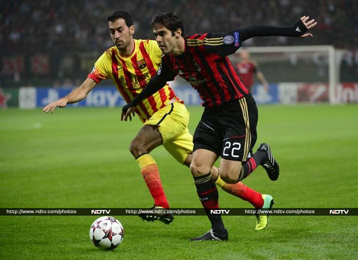 """AC Milan coach Massimiliano Allegri heaped praise on Kaka after the Brazilian forward's impressive display on his return from injury contributed to a spirited 1-1 draw at home to Barcelona on Tuesday. """"Kaka tonight showed the champion he is, not just in terms of his technical ability,"""" said Allegri."""