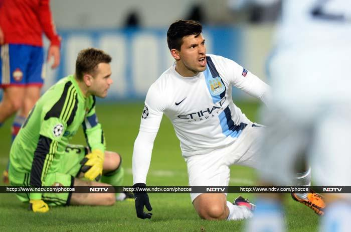 Manchester City got their Champions League bid back on track on Wednesday, coming from behind to beat CSKA Moscow 2-1 in testing conditions in the Russian capital. Sergio Aguero scored twice. (All AP and AFP images)
