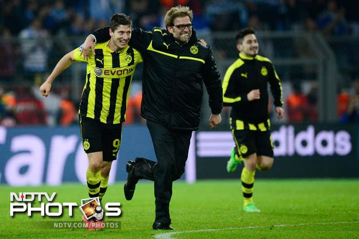 Robert Lewandowski pulled one back in the 40th but Dortmund still needed another goal to progress.